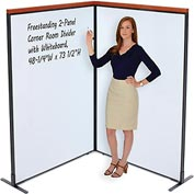 "Interion™ Deluxe Freestanding 2-Panel Corner Room Divider with Whiteboard, 48-1/4""W x 73-1/2""H"
