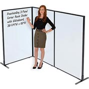 "Interion™ Freestanding 3-Panel Corner Room Divider with Whiteboard, 36-1/4""W x 60""H"