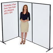 "Interion™ Freestanding 3-Panel Corner Room Divider with Whiteboard, 36-1/4""W x 72""H"