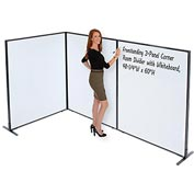 "Interion™ Freestanding 3-Panel Corner Room Divider with Whiteboard, 48-1/4""W x 60""H"