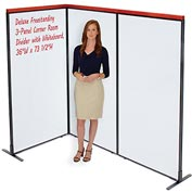 "Interion™ Deluxe Freestanding 3-Panel Corner Room Divider with Whiteboard, 36-1/4""W x 73-1/2""H"
