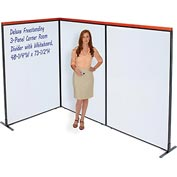 "Deluxe Freestanding 3-Panel Corner Room Divider with Whiteboard, 48-1/4""W x 73-1/2""H"