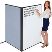 "Interion™ Freestanding 2-Panel Corner Room Divider with Whiteboard, 36-1/4""W x 60""H, Blue"