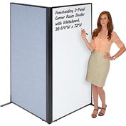 "Interion™ Freestanding 2-Panel Corner Room Divider with Whiteboard, 36-1/4""W x 72""H, Blue"