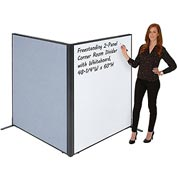 "Interion™ Freestanding 2-Panel Corner Room Divider with Whiteboard, 48-1/4""W x 60""H, Blue"