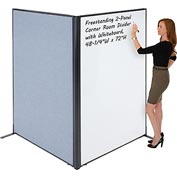 "Interion™ Freestanding 2-Panel Corner Room Divider with Whiteboard, 48-1/4""W x 72""H, Blue"