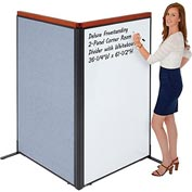 "Interion Deluxe Freestanding 2-Panel Corner Room Divider with Whiteboard, 36-1/4""W x 61-1/2""H, Blue"