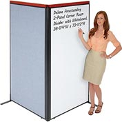 "Interion Deluxe Freestanding 2-Panel Corner Room Divider with Whiteboard, 36-1/4""W x 73-1/2""H, Blue"