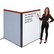 "Interion Deluxe Freestanding 2-Panel Corner Room Divider with Whiteboard, 48-1/4""W x 61-1/2""H, Blue"