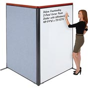 "Deluxe Freestanding 2-Panel Corner Room Divider with Whiteboard, 48-1/4""W x 73-1/2""H, Blue"