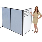 "Interion™ Freestanding 3-Panel Corner Room Divider with Whiteboard, 36-1/4""W x 60""H, Blue"