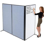 "Interion™ Freestanding 3-Panel Corner Room Divider with Whiteboard, 36-1/4""W x 72""H, Blue"