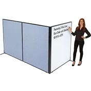 "Freestanding 3-Panel Corner Room Divider with Whiteboard, 48-1/4""W x 60""H, Blue"