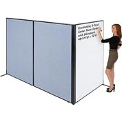 "Interion™ Freestanding 3-Panel Corner Room Divider with Whiteboard, 48-1/4""W x 72""H, Blue"