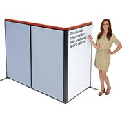 "Interion Deluxe Freestanding 3-Panel Corner Room Divider with Whiteboard, 36-1/4""W x 61-1/2""H, Blue"