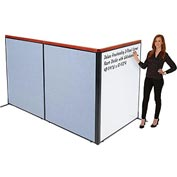 "Interion Deluxe Freestanding 3-Panel Corner Room Divider with Whiteboard, 48-1/4""W x 61-1/2""H, Blue"