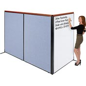 """Interion Deluxe Freestanding 3-Panel Corner Room Divider with Whiteboard, 48-1/4""""W x 73-1/2""""H, Blue"""