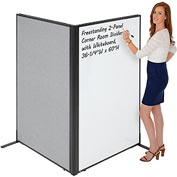 "Freestanding 2-Panel Corner Room Divider with Whiteboard, 36-1/4""W x 60""H, Gray"
