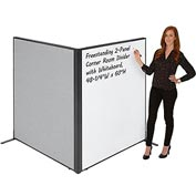 "Interion™ Freestanding 2-Panel Corner Room Divider with Whiteboard, 48-1/4""W x 60""H, Gray"
