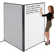 "Interion™ Freestanding 2-Panel Corner Room Divider with Whiteboard, 48-1/4""W x 72""H, Gray"