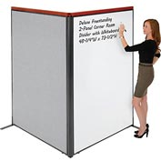 "Deluxe Freestanding 2-Panel Corner Room Divider with Whiteboard, 48-1/4""W x 73-1/2""H, Gray"