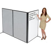 "Freestanding 3-Panel Corner Room Divider with Whiteboard, 36-1/4""W x 60""H, Gray"