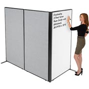 "Interion™ Freestanding 3-Panel Corner Room Divider with Whiteboard, 36-1/4""W x 72""H, Gray"