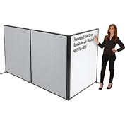 "Freestanding 3-Panel Corner Room Divider with Whiteboard, 48-1/4""W x 60""H, Gray"