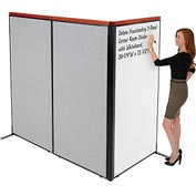 "Interion Deluxe Freestanding 3-Panel Corner Room Divider with Whiteboard, 36-1/4""W x 73-1/2""H, Gray"