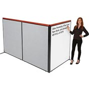 "Interion Deluxe Freestanding 3-Panel Corner Room Divider with Whiteboard, 48-1/4""W x 61-1/2""H, Gray"