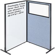 "Interion™ 2-Panel Corner Room Divider with Whiteboard & Partial Window, 36-1/4""W x 60""H, Blue"