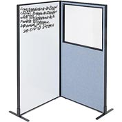 "Interion™ 2-Panel Corner Room Divider with Whiteboard & Partial Window, 36-1/4""W x 72""H, Blue"