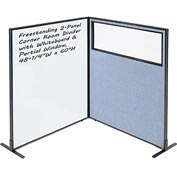 "Interion™ 2-Panel Corner Room Divider with Whiteboard & Partial Window, 48-1/4""W x 60""H, Blue"