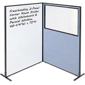 "Interion™ 2-Panel Corner Room Divider with Whiteboard & Partial Window, 48-1/4""W x 72""H, Blue"