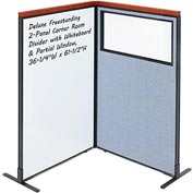Interion Deluxe Freestanding 2-Panel Corner w/ Whiteboard & Partial Window 36-1/4W x61-1/2H Blue