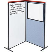 Interion Deluxe Freestanding 2-Panel Corner w/ Whiteboard & Partial Window 36-1/4W x73-1/2H Blue