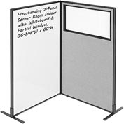 "Interion™ 2-Panel Corner Room Divider with Whiteboard & Partial Window, 36-1/4""W x 60""H, Gray"