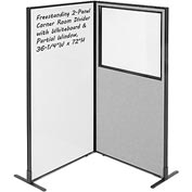 "Interion™ 2-Panel Corner Room Divider with Whiteboard & Partial Window, 36-1/4""W x 72""H, Gray"
