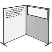 "Interion™ 2-Panel Corner Room Divider with Whiteboard & Partial Window, 48-1/4""W x 60""H, Gray"
