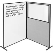 "2-Panel Corner Room Divider with Whiteboard & Partial Window, 48-1/4""W x 72""H, Gray"