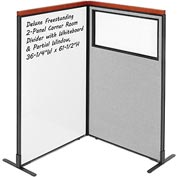 Interion Deluxe Freestanding 2-Panel Corner w/ Whiteboard & Partial Window 36-1/4W x61-1/2H Gray