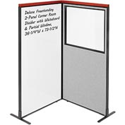 Interion Deluxe Freestanding 2-Panel Corner w/ Whiteboard & Partial Window 36-1/4W x73-1/2H Gray