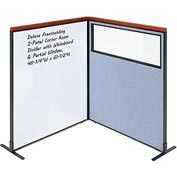 Interion Deluxe Freestanding 2-Panel Corner w/ Whiteboard & Partial Window 48-1/4W x61-1/2H Blue