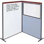 Interion Deluxe Freestanding 2-Panel Corner w/ Whiteboard & Partial Window 48-1/4W x73-1/2H Blue