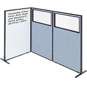 "3-Panel Corner Room Divider with Whiteboard & Partial Window, 36-1/4""W x 60""H, Blue"