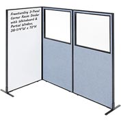 """Interion™ 3-Panel Corner Room Divider with Whiteboard & Partial Window, 36-1/4""""W x 72""""H, Blue"""