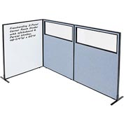 "3-Panel Corner Room Divider with Whiteboard & Partial Window, 48-1/4""W x 60""H, Blue"