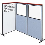 Deluxe Freestanding 3-Panel Corner w/ Whiteboard & Partial Window 36-1/4W x73-1/2H Blue