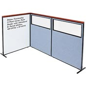 Interion Deluxe Freestanding 3-Panel Corner w/ Whiteboard & Partial Window 48-1/4W x61-1/2H Blue