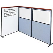 Interion Deluxe Freestanding 3-Panel Corner w/ Whiteboard & Partial Window 48-1/4W x73-1/2H Blue